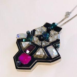 Swarovski long multi colored pendant necklace